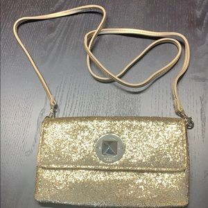 Kate Spade mini glitter gold bag